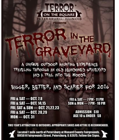 """terror in the graveyard"" event performances flyer"